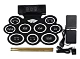 Hand roll Electric Drum Set, 9 Pads Electronic Drum Kit with Headphone Jack, Built-in Speaker and Battery, Drum Stick and Foot Pedals