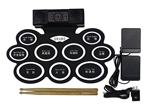 Hand roll Electric Drum Set, 9 Pads Electronic Drum Set with Built-in Speaker and Battery, Headphone Jack, Drum Stick and Foot Pedals. Best educational gift for beginners