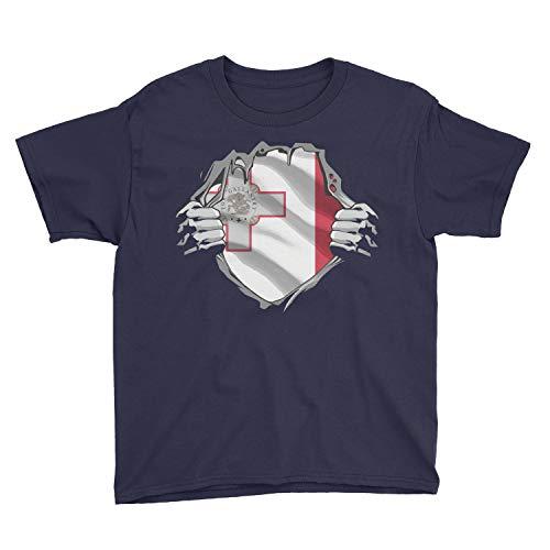 Kids Maltese Superhero Under Shirt Malta Flag Youth T-Shirt (M, Navy)