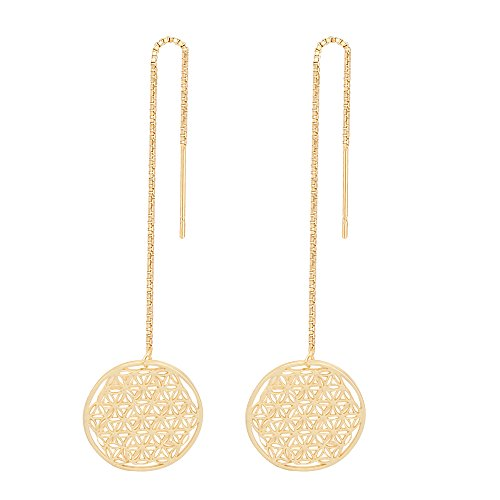 - SENFAI Filigree Flower Seed of Life Symbol Charms Adjustable Long String Earrings 3 Tone (Gold)