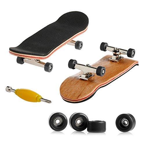 SCASTOE Basic Complete Wooden Deck Fingerboard Maple Wood with Bearings Grit Foam Tape Black