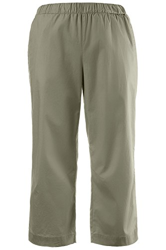 Ulla Popken Women's Plus Size Stretch Twill Capri Pants Light Khaki Olive 20 704239 43 (Stretch Twill Slip)