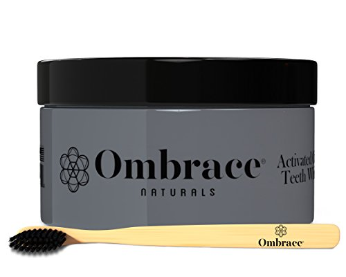 Activated Charcoal Teeth Whitening All Natural Powder Kit 2 Oz With Complimentary Bamboo Brush | Remove Stains, Polish & Whiten Teeth, Enhance Gum Health, Refresh Breath & Protect The Enamel Ombrace