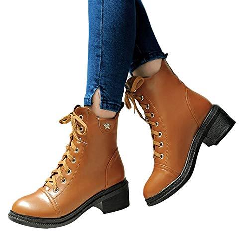Stiefel Damen Boots Anti-Rutsch Stiefeletten Frauen Round Toe Schuhe Martin Stiefel Klassische Square High Heel Schuhe Freizeitschuhe Boot ABsoar Braun