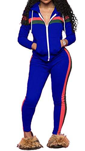 TOP-MAX Women 2 Pieces Tracksuit Ladies Zipper Playsuits Sportswear Strip Hooded Zip up Sweatshirt Hoodies + Pants Trousers
