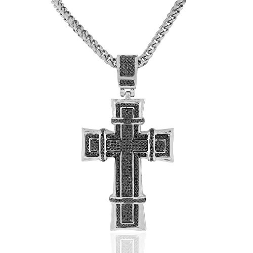 Stainless Steel Silver-Tone Black CZ Large Statement Hip-Hop Religious Cross Necklace, 36'' by My Daily Styles