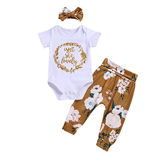 2bcf8c1f93 Newborn Infant Baby Girl Outfits Isn't She Lovely Romper Top Floral Pant  Headband 3Pcs