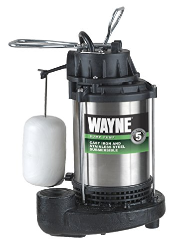 1 Hp Submersible Water (WAYNE CDU1000 1 HP Submersible Cast Iron and Stainless Steel Sump Pump with Integrated Vertical Float Switch)