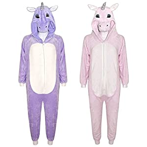 Kids Girls Boys Onesie Soft Fluffy Unicorn All In One Halloween Costume 7-14 Yr