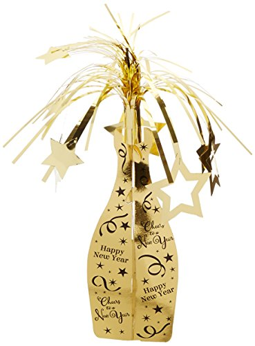 Happy New Year Centerpiece (Amscan Rocking New Year Party Champagne Bottle Centerpiece Table Decoration, Gold, 19