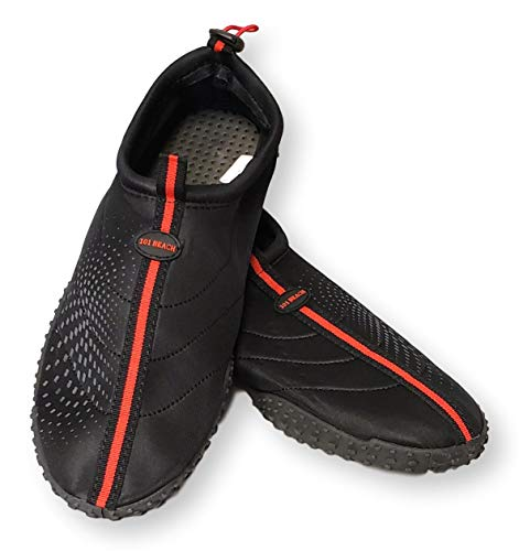 101 BEACH Mens Big Sizes 14-15 Black with Red Trim Aqua Sock Wave Water Shoes - Waterproof Slip-On Style for Pool, Beach, Boating, Water Aerobics and Water Sports (Mens 15 M US, Black with Red Trim) (Water Shoes 15)