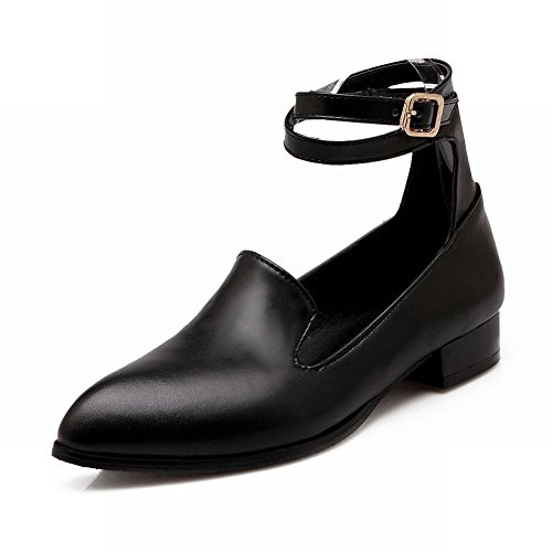 Carol Shoes Womens Buckle Retro Ankle-wrap A Punta Tacco Basso Moda Scarpe Nere