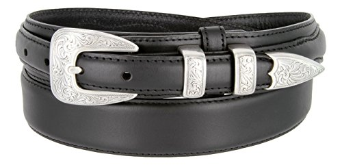 S5527 Oil Tanned Leather Ranger Belt With Engraved Sterling Silver ()