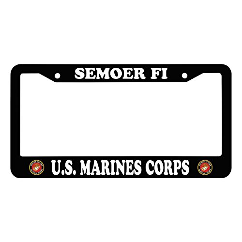 Chawuux SEMOER FI U.S. MARINES CORPS Personalized License Plate Frame With Logo Auto License Plate Frame, Black Funny Matte License Frame With Bolts Caps by Chawuux