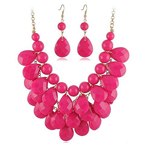 - Floating Bubble Necklace Layered Teardrop Statement necklace Resin Beaded Collar Necklace Earrings Jewelry Set for Women (Rose)