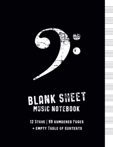 Blank Sheet Music Notebook: Black Cover with Bass Clef, Numbered Music Manuscript Paper with empty Table of Contents, Staff Paper, Musicians Notebook 8.5 x 11, 100 Pages