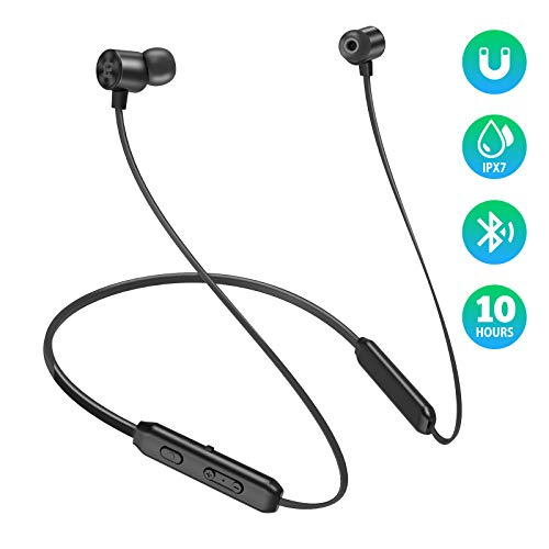 - EVIO Bluetooth Headphones, Best Sports Wireless Bluetooth 5.0 Hi-Fi Stereo Deep Bass Earbuds, IPX7 Waterproof & 10 Hrs Playing Time Headsets, CVC 8.0 Neckband Magnetic in-Ear Earphone w/Mic (Black)