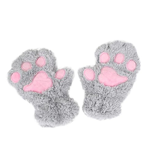 Fablcrew Vrouwen Winter Handschoen Mooie Pluche Kat Klauw Half Vinger Handschoen Wanten voor Schrijven Typen
