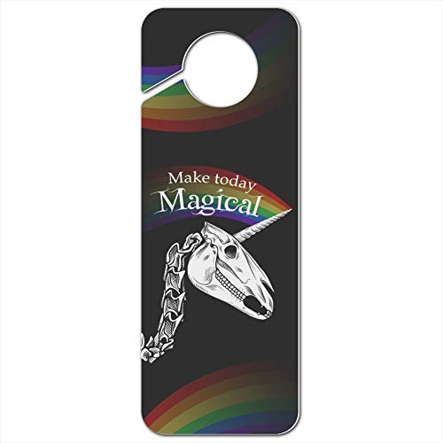 GRAPHICS & MORE Make Today Magical Skeleton Unicorn Skull Halloween Plastic Door Knob Hanger Sign - Image