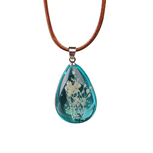 Flower Charm Drop Pendant - Clearance! Women's Charm Luminous Dried Flower Resin Teardrop Pendant Necklace Chain Jewelry (Sky Blue)