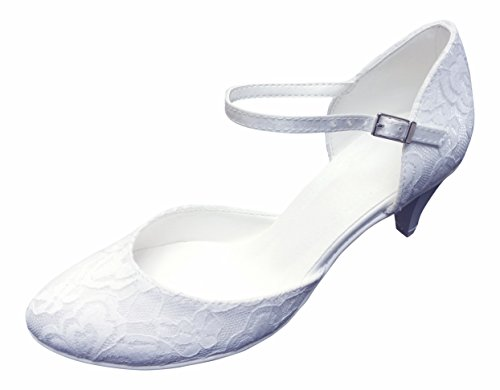 Ivory wedding lace shoes Ivory with pump Strappy 4qfYwY
