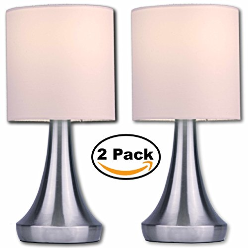"Light Accents Touch Table Lamp 13"" Tall with 3-Stage Dimmer and White Fabric Drum Shade (2-Pack) -  Decor Works, 615TL-2PK-025-FBA-"