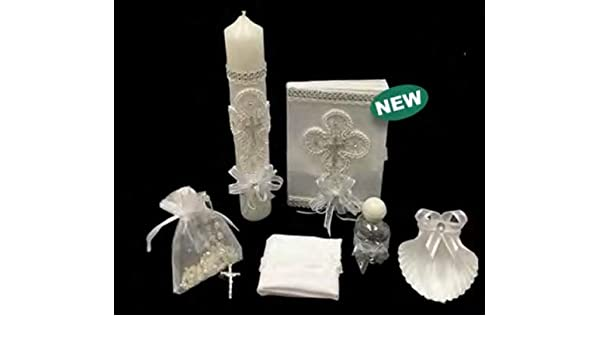 ... Boy, or Unisex : Candle, Bible, Dry Cloth, Sea Shell, Rosary and Holy Water Bottle –Bautizo Religious Gift (Silver): Health & Personal Care