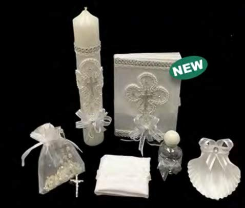 Spanish Handmade Christening/Baptism White Trim Cross Set for Girl, Boy, or Unisex : Candle, Bible, Dry Cloth, Sea Shell, Rosary and Holy Water Bottle –Bautizo Religious Gift (Silver)