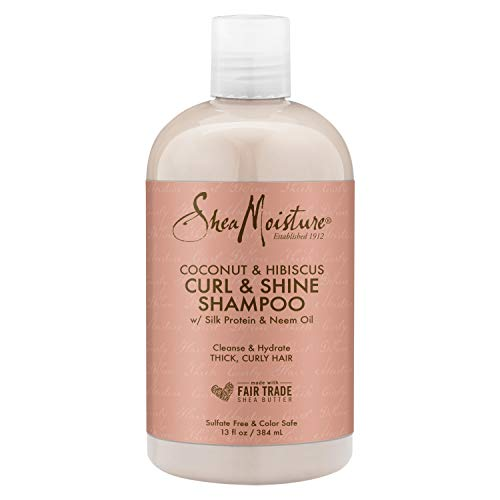 SheaMoisture Curl and Shine Coconut Shampoo for Curly Hair Coconut and Hibiscus Paraben Free Shampoo 13 oz
