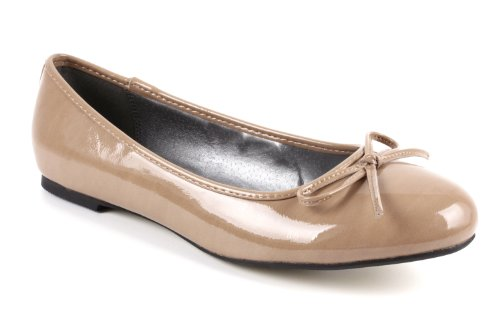 Andres Machado Ballerines TG104 Patent Brown rrqY1d