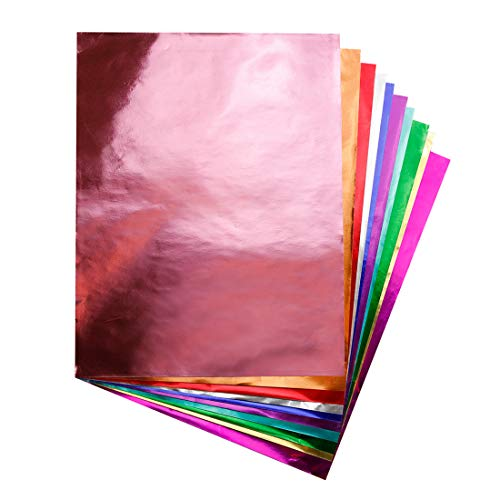 Hygloss Products Metallic Foil Paper Sheets - 10 x 13 Inch, 40 Sheets - Assorted Colors