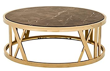 Casa Padrino Luxury Art Deco Coffee Table Round Gold With Marble Top