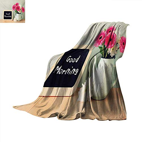(Quotefluffy blanketBlackboard with The Phrase Good Morning Written on It Next to Vase with Fresh Flowersbed Blanket 60