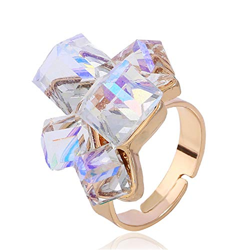 (JczR.Y Fashion Square Cube Zircon Crystal Open Rings Adjuatable 3D Austrian Amethyst Rhinestone Index Finger Rings for Women Girls (White))