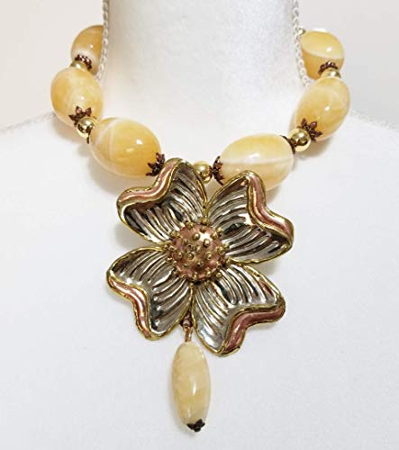 Yellow Jade Big Beads Gemstone Necklace Earrings Vintage Flower One of a Kind