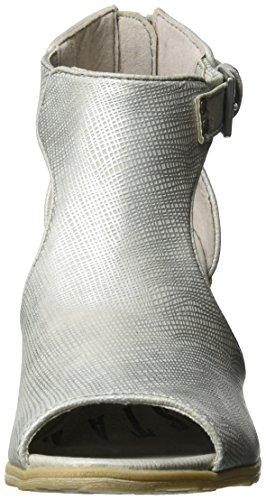 Mustang 1221-810-21, Sandalias con Cuña para Mujer Plateado (21 Silber)