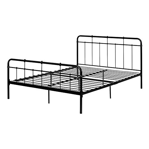 South Shore 12242 Plenny Metal Platform Bed Queen Black