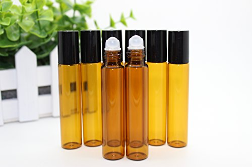 Elufly 10ml(1/3oz) Empty Amber Glass Roll on Bottles Essential Oil Perfume Bottle Pack of 6-30 - What Glasses Tinted Are