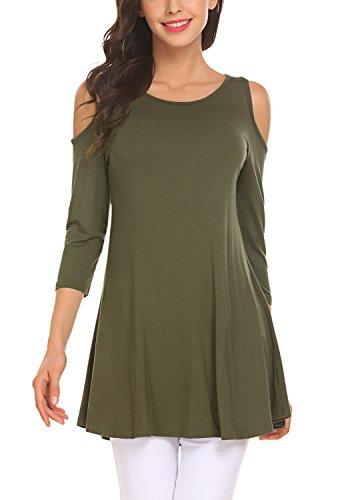 [해외]BLUETIME Womens 3/4 Sleeve 콜드 숄더 튜닉 탑스 레깅스 튜닉 블라우스 셔츠/BLUETIME Womens 3/4 Sleeve Cold Shoulder Tunic Top For Leggings Tunics Blouse Shirt