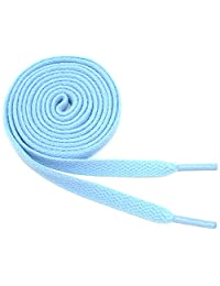 "Flat Shoelaces 5/16"" Wide Solid Colors Several Lengths For Sneakers and Shoes (Light Blue-36)"