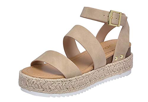 SODA Women's Open Toe Ankle Strap Espadrille Sandal (7, Bryce-Taupe)