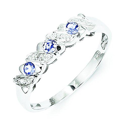 Sterling Silver Tanzanite & Diamond Ring - Size 8
