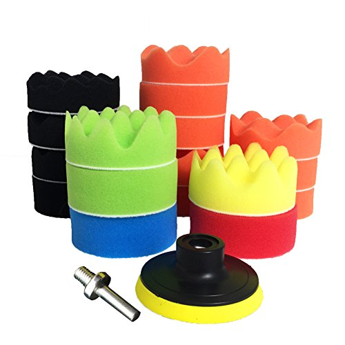 Buffing Wheel for Drill - Polishing Buffing pads Buffer Waxing Polish Foam Polisher Kit Sponges Buffing Pad Attachment for M10 Drill Adapter 19pcs