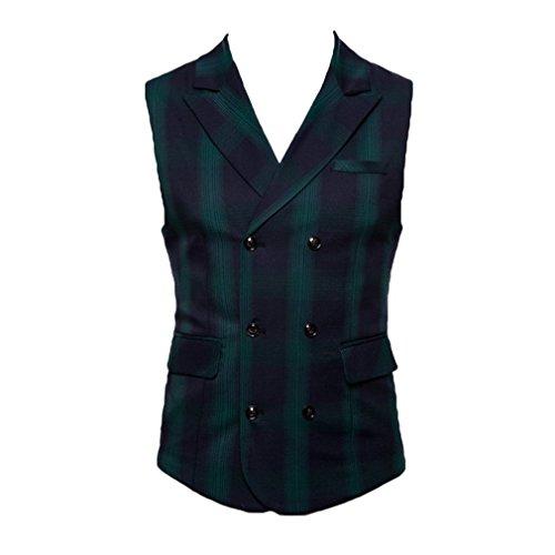 Festa Verde Nuziale A Collo Scozzese V Stile Monopetto Colletto Casual Uomo Aderente Vestibilità Gilet Juleya qwt6HR