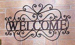 Welcome Wall Door Plaque Sign Decorative Metal Ornate Bronzed Coloring Entryway Indoor/outdoor