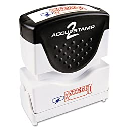 ACCUSTAMP2 Accustamp2 Shutter Stamp with Microban, Red/Blue, ENTERED, 1 5/8 x 1/2