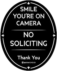 """Ignixia No Soliciting Sign for House 4"""" x 5"""" Inches Smile You are on Camera Sign Digital Printed Ova"""