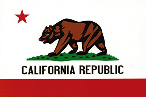 California Heavy Duty Vinyl Bumper Sticker (3 x 5 - Flag California Sticker