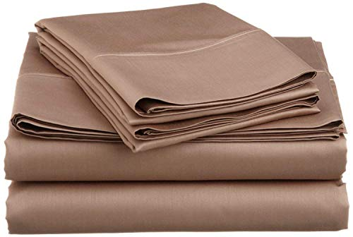 Reliable Bedding 100% Pima Cotton Sheet Set, 500 TC - High Qyality 24'' Deep Pockets-Easy Fit-Breathable & Cooling Sheets-Wrinkle & Fade Resistance- (Taupe/King)