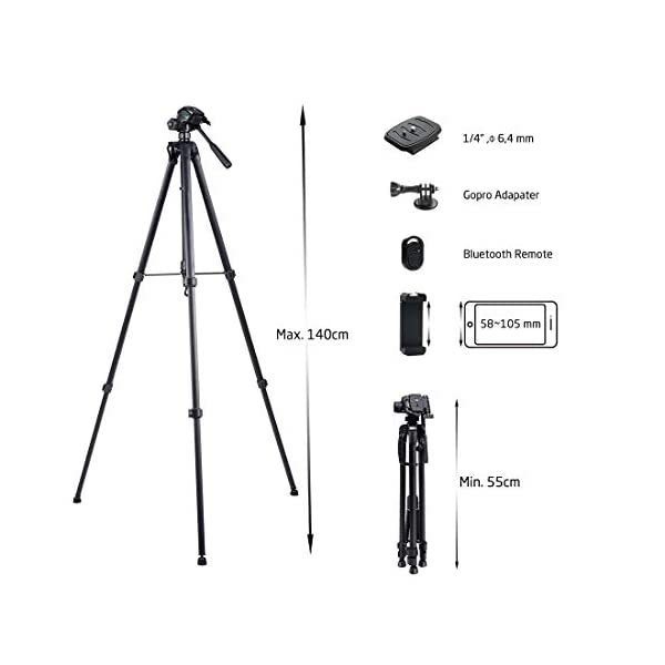 Phinistec 140cm Stativ F R Kamera Handy Iphone Beamer Gopro Mit Smartphone Halterung Bluetooth Fernbedienung Und